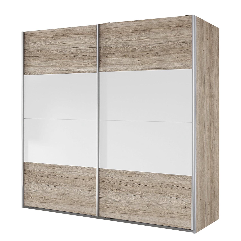 Armoire à portes coulissantes Bustas - Imitation chêne de San Remo clair / Blanc alpin - 226 cm (2 portes), Rauch Packs