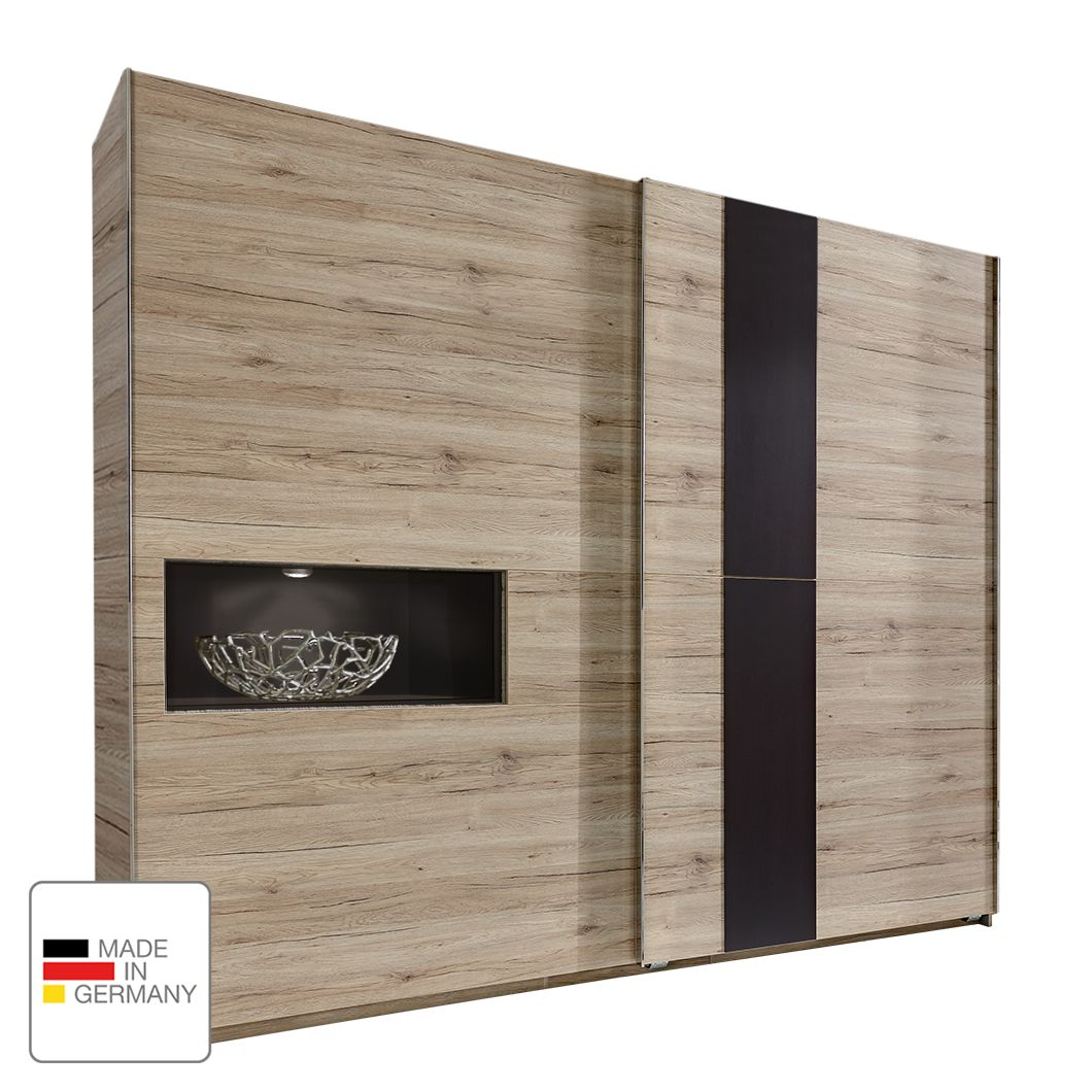goedkoop Schuifdeurkast Diva San Remo eikenhouten look 300cm 2 deurs 1 opbergvak Zonder Passe partout lijst fresh to go