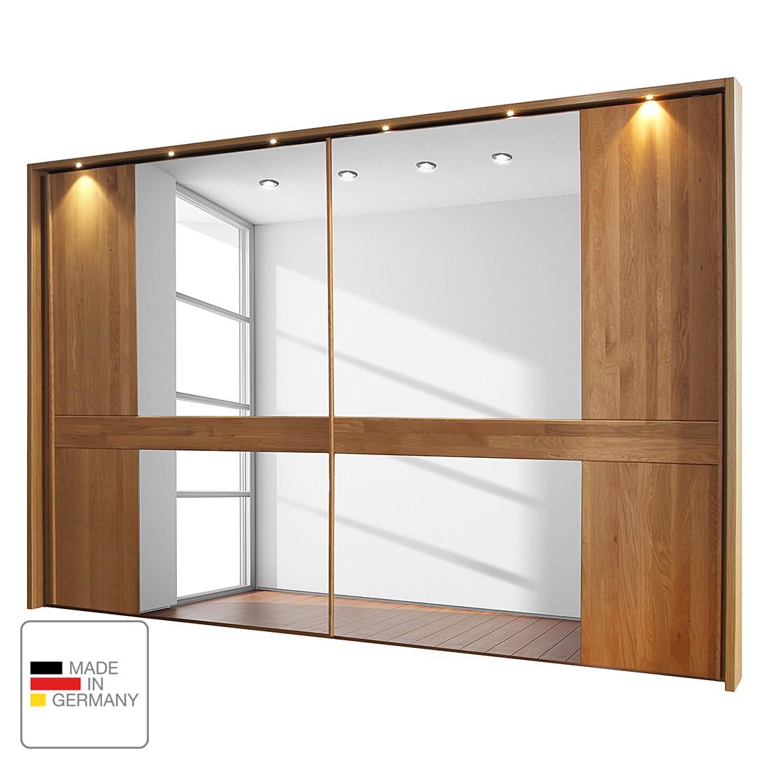 goedkoop energie A+ Schuifdeurkast Faro gelakt massief eikenhout 250cm 2 deurs Met verlichte Passe partout lijst Wiemann