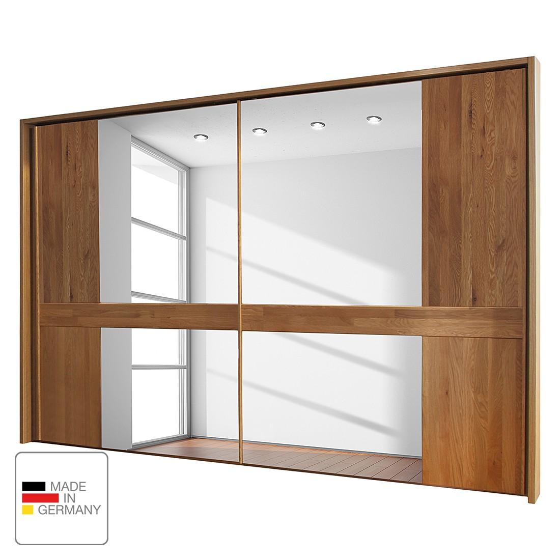 goedkoop Schuifdeurkast Faro gelakt massief eikenhout 250cm 2 deurs Met Passe partout lijst Wiemann