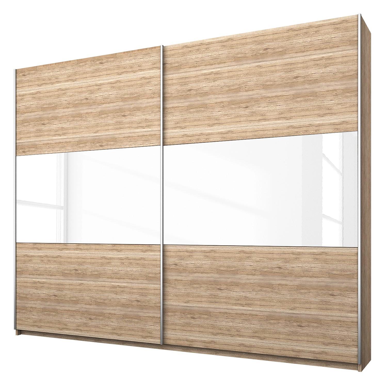 goedkoop Schuifdeurkast Loriga Lichte San Remo eikenhouten look wit glas 218cm 2 deurs Rauch Packs