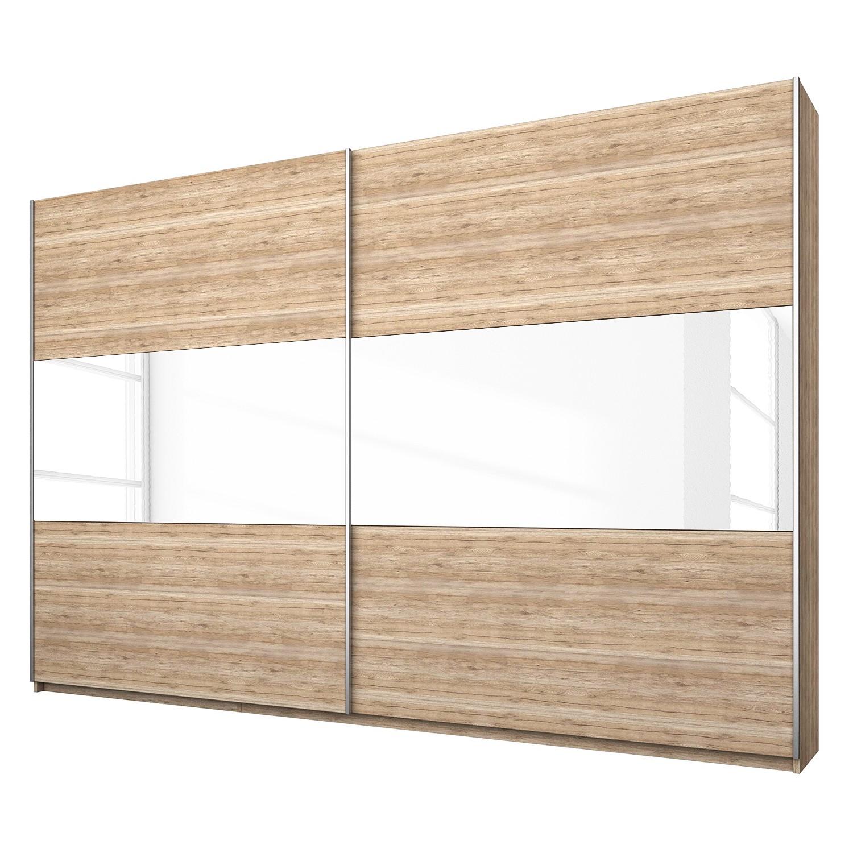 goedkoop Schuifdeurkast Loriga Lichte San Remo eikenhouten look wit glas 261cm 2 deurs Rauch Packs