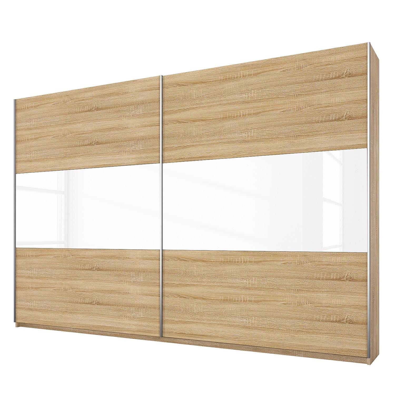goedkoop Schuifdeurkast Loriga Sonoma eikenhouten look wit glas 261cm 2 deurs Rauch Packs
