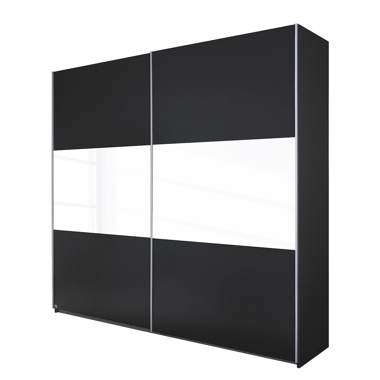Armoire à portes coulissantes Loriga - Gris métallisé / Verre blanc - 175 cm (2 portes), Rauch Packs