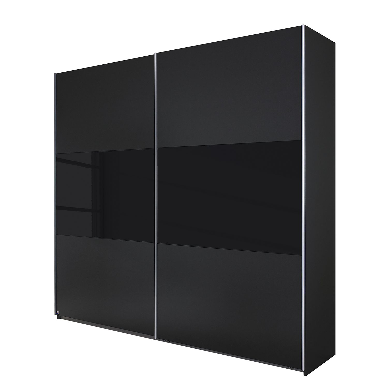 goedkoop Schuifdeurkast Loriga Metallic grijs zwart glas 261cm 2 deurs Rauch Packs