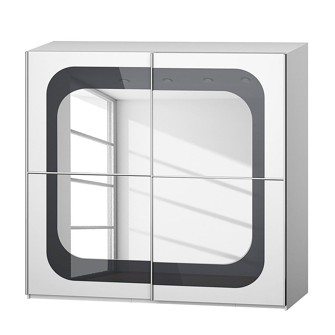 goedkoop Schuifdeurkast Lumos Alpinewit basaltkleurig glas 226cm 2 deurs 223cm Rauch Dialog