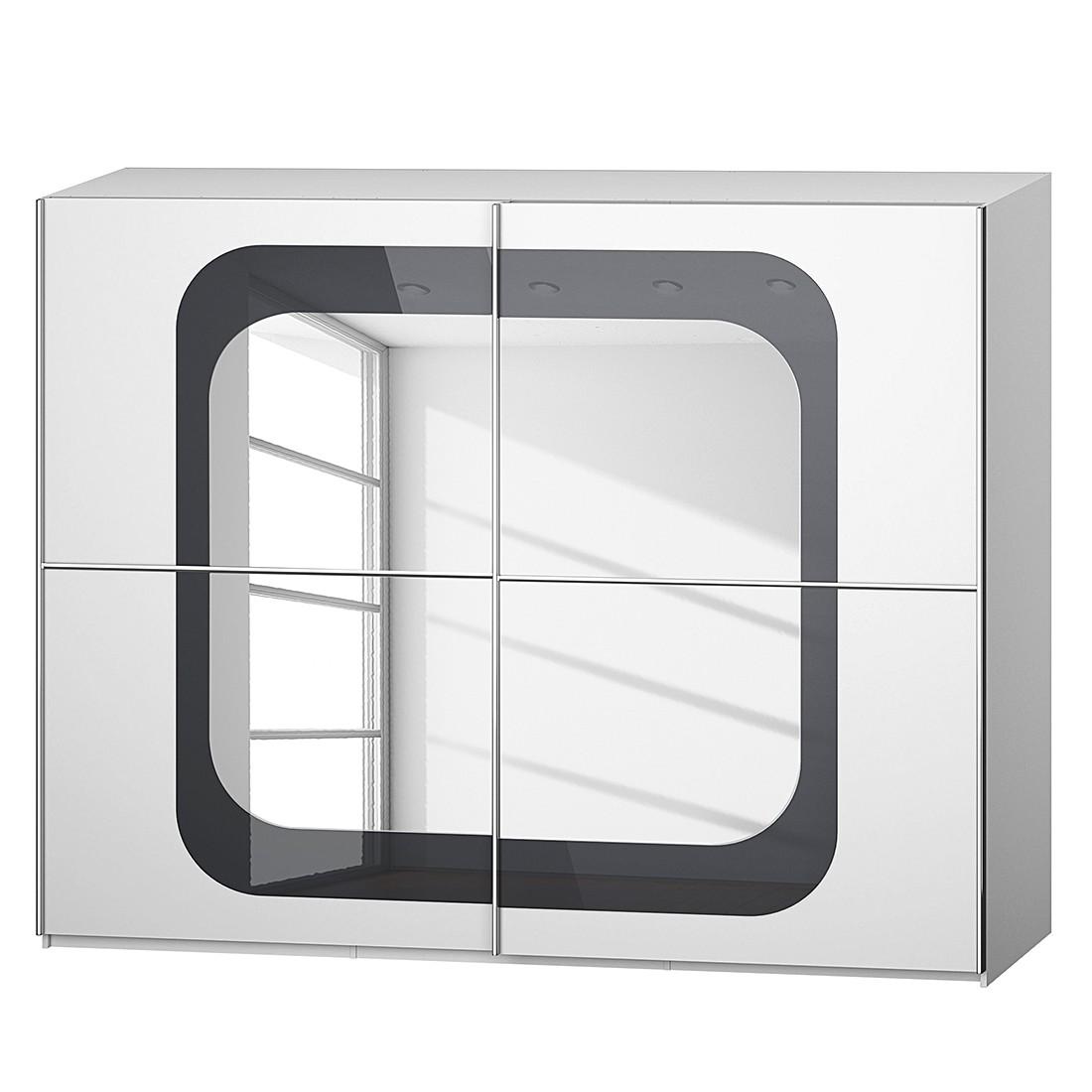 goedkoop Schuifdeurkast Lumos Alpinewit basaltkleurig glas 270cm 2 deurs 236cm Rauch Dialog