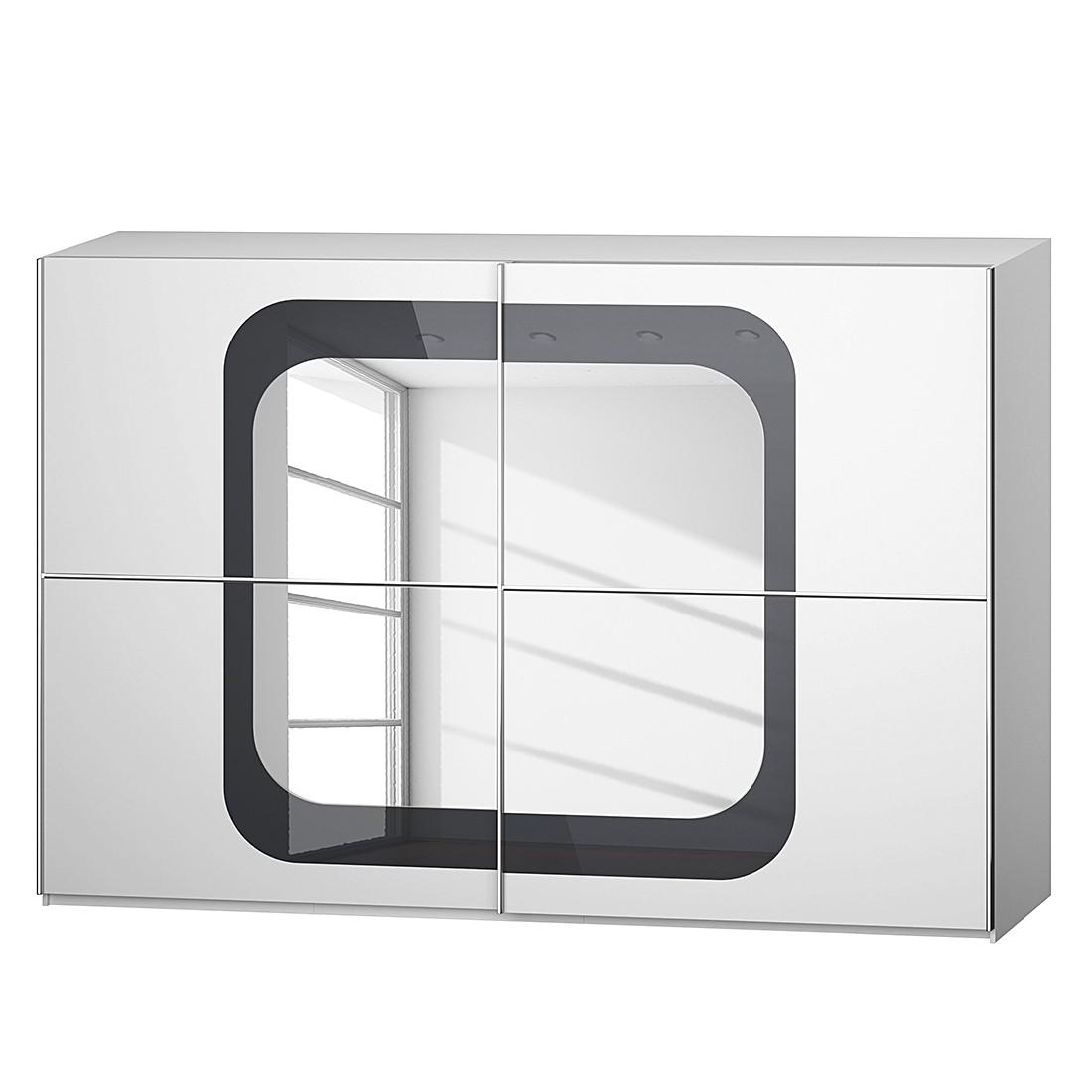 goedkoop Schuifdeurkast Lumos Alpinewit basaltkleurig glas 316cm 2 deurs 223cm Rauch Dialog