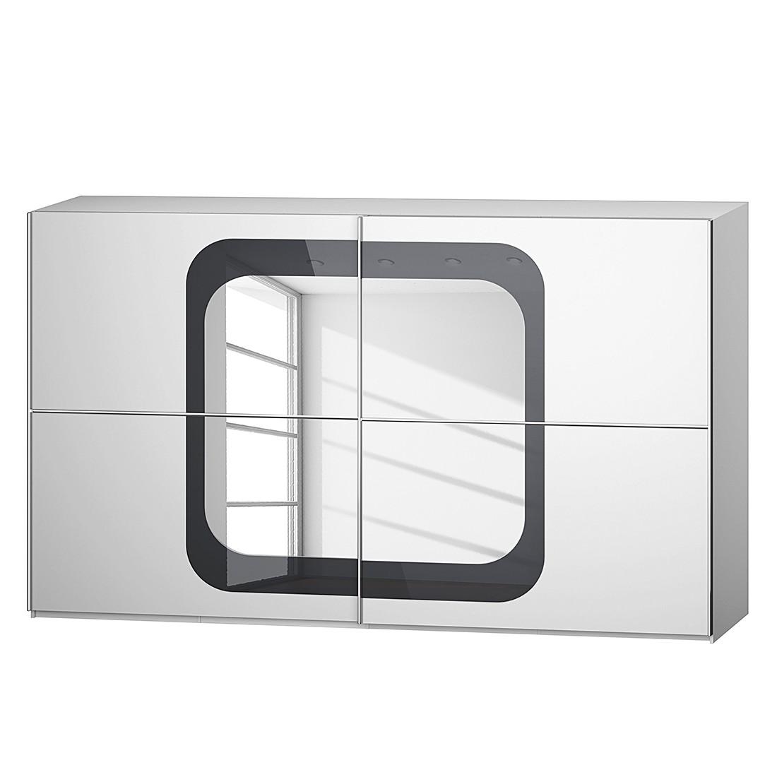 goedkoop Schuifdeurkast Lumos Alpinewit basaltkleurig glas 359cm 2 deurs 236cm Rauch Dialog