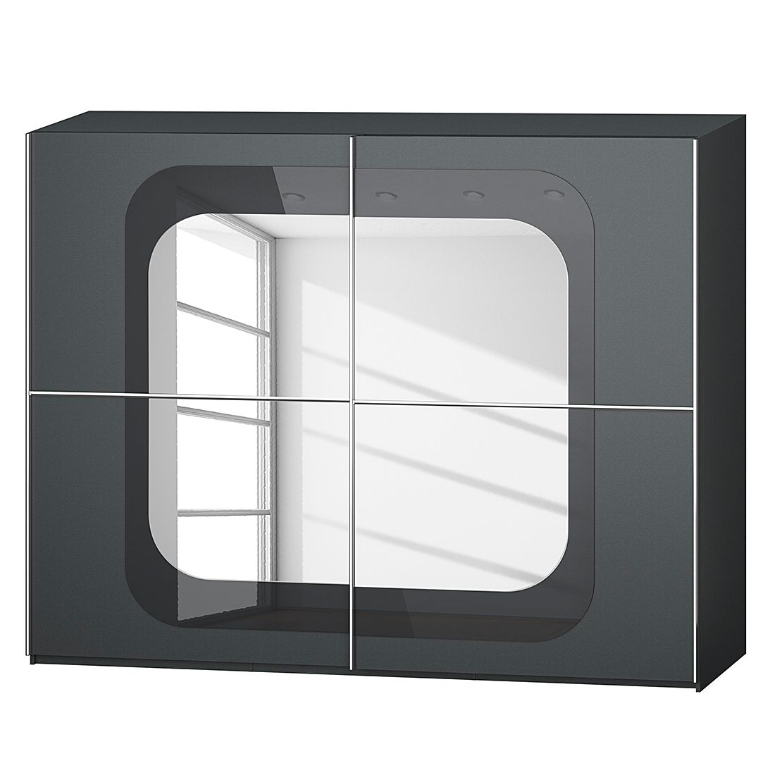 goedkoop Schuifdeurkast Lumos Grafietkleurig basalt 270cm 2 deurs 236cm Rauch Dialog
