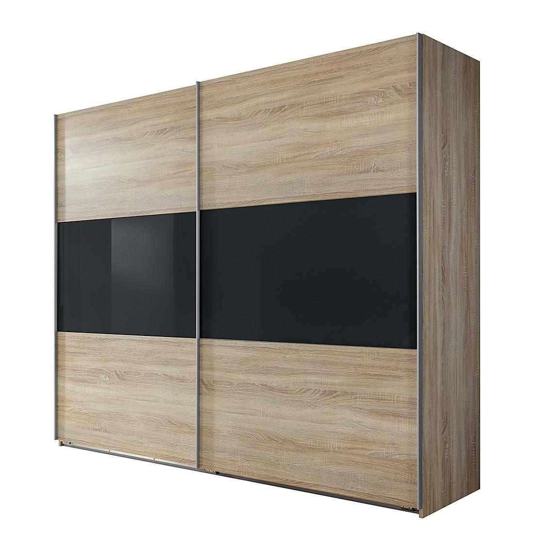 goedkoop Schuifdeurkast Medley grof gezaagde eikenhout look donkergrijs BxH 270x210cm 2 deurs Wimex
