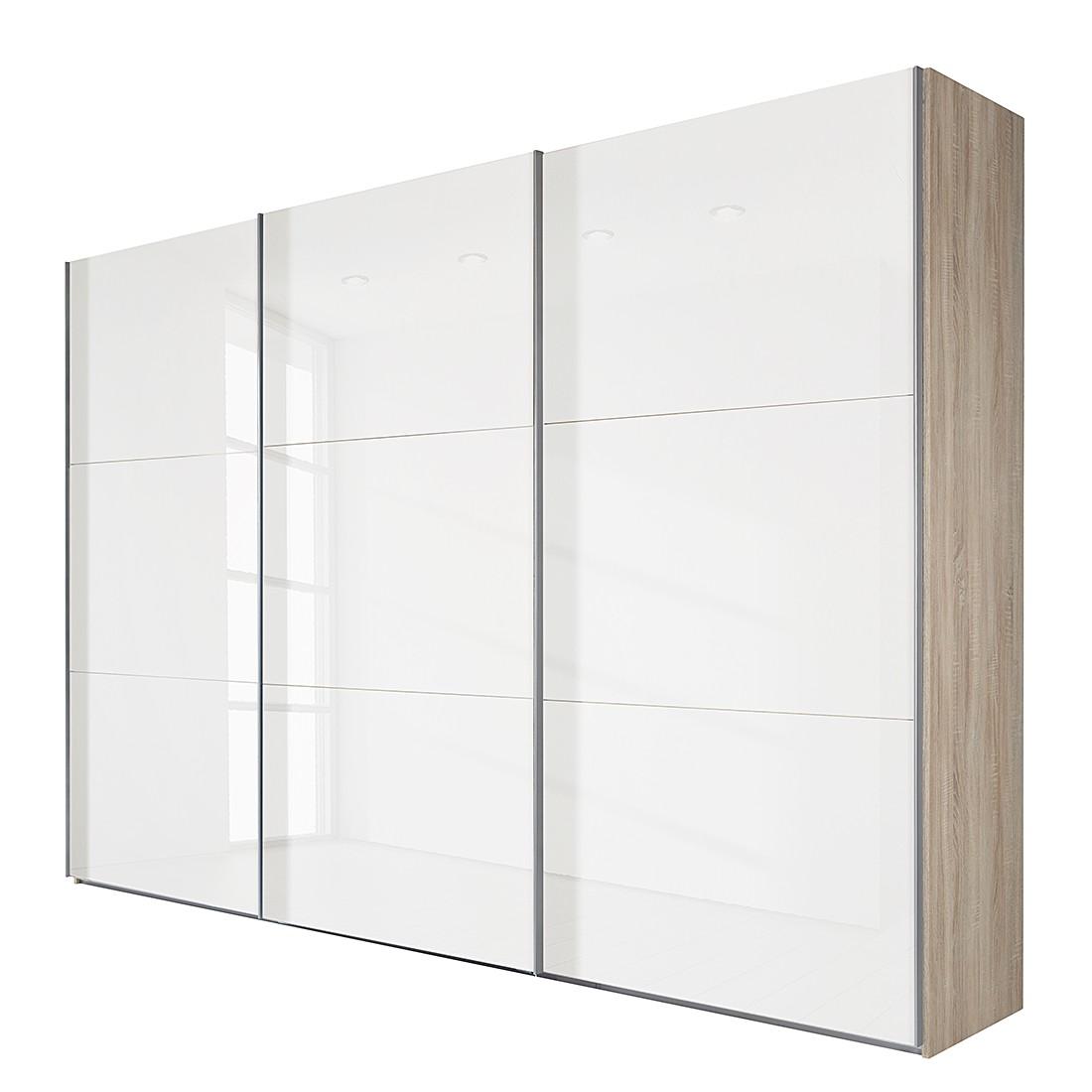 goedkoop Schuifdeurkast Medley I grof gezaagde eikenhout look wit glas BxH 315x236cm 3 deurs Wimex