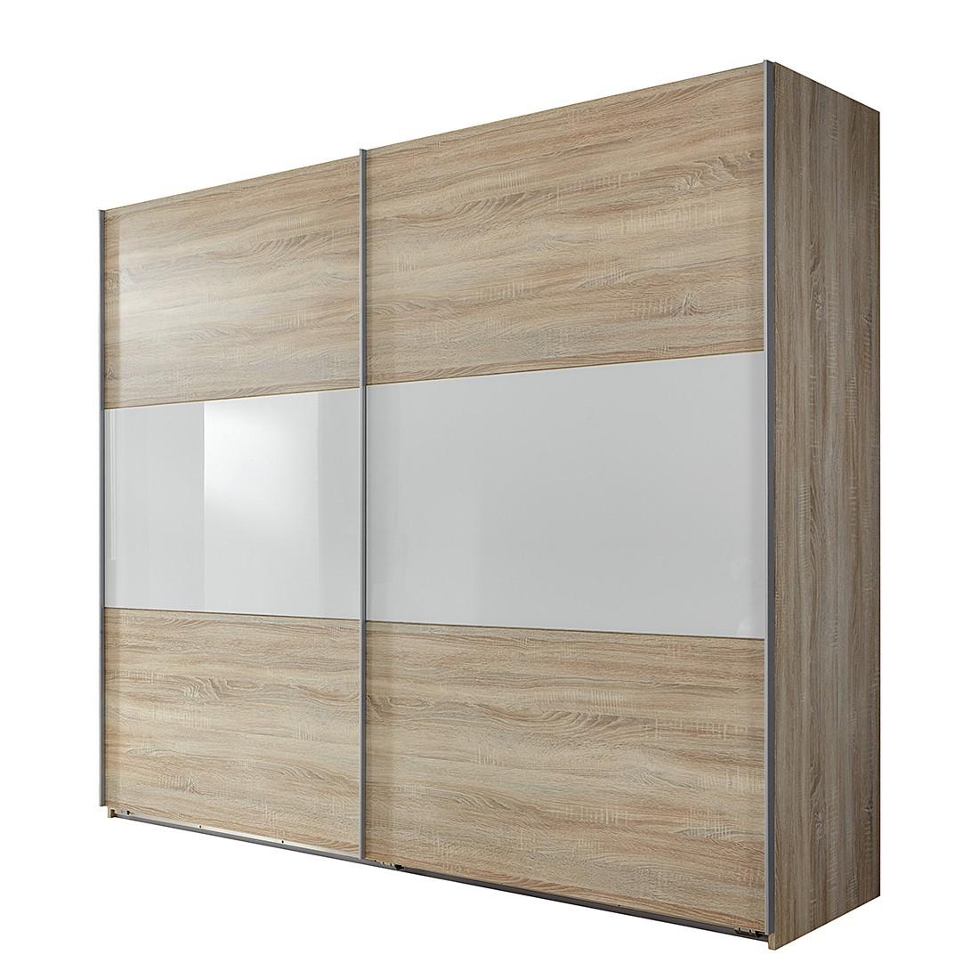 goedkoop Schuifdeurkast Medley II grof gezaagde eikenhout look wit BxH 270x236cm 2 deurs Wimex