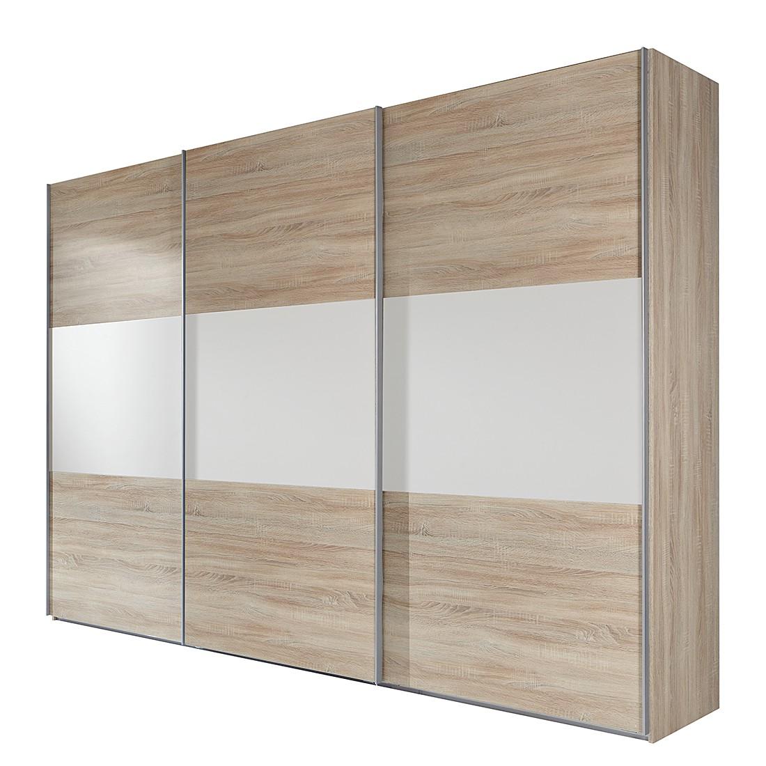 goedkoop Schuifdeurkast Medley II grof gezaagde eikenhout look wit BxH 315x236cm 3 deurs Wimex