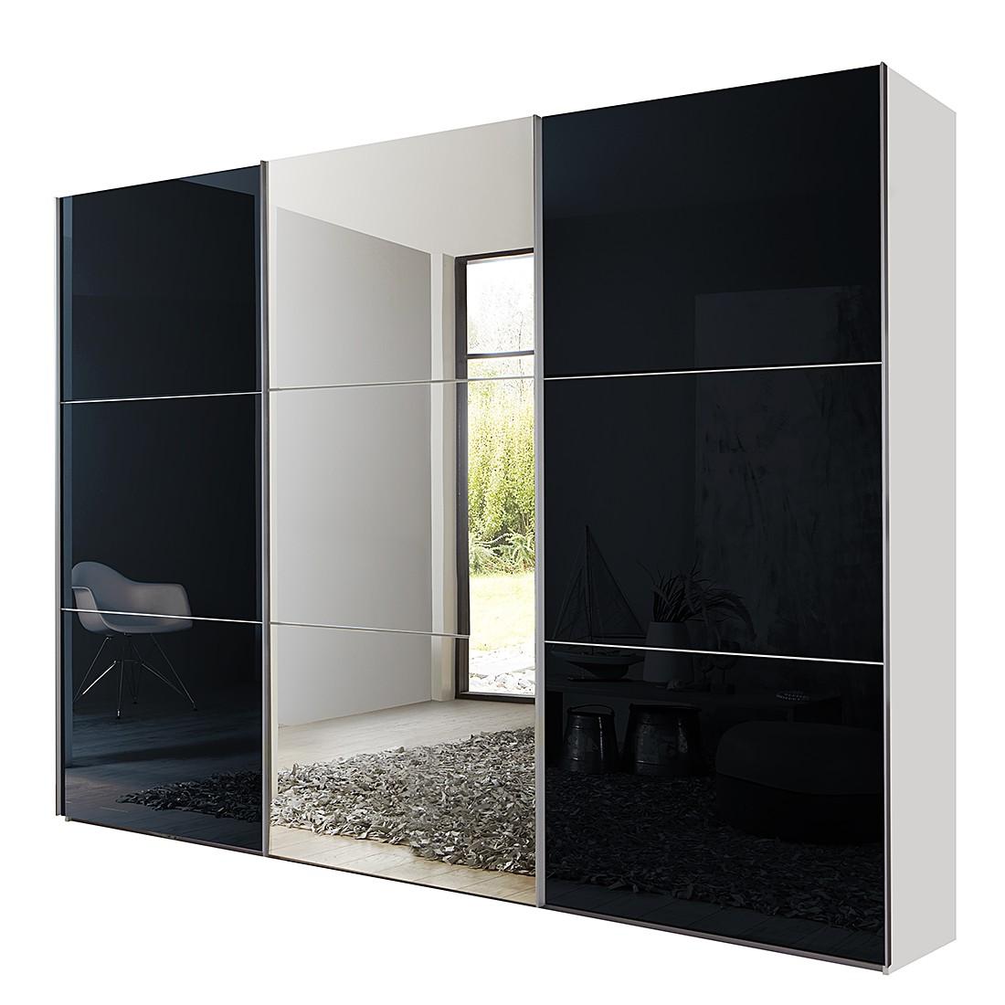 goedkoop Schuifdeurkast Medley met spiegel alpinewit zwart BxH 315x236cm 3 deurs Wimex