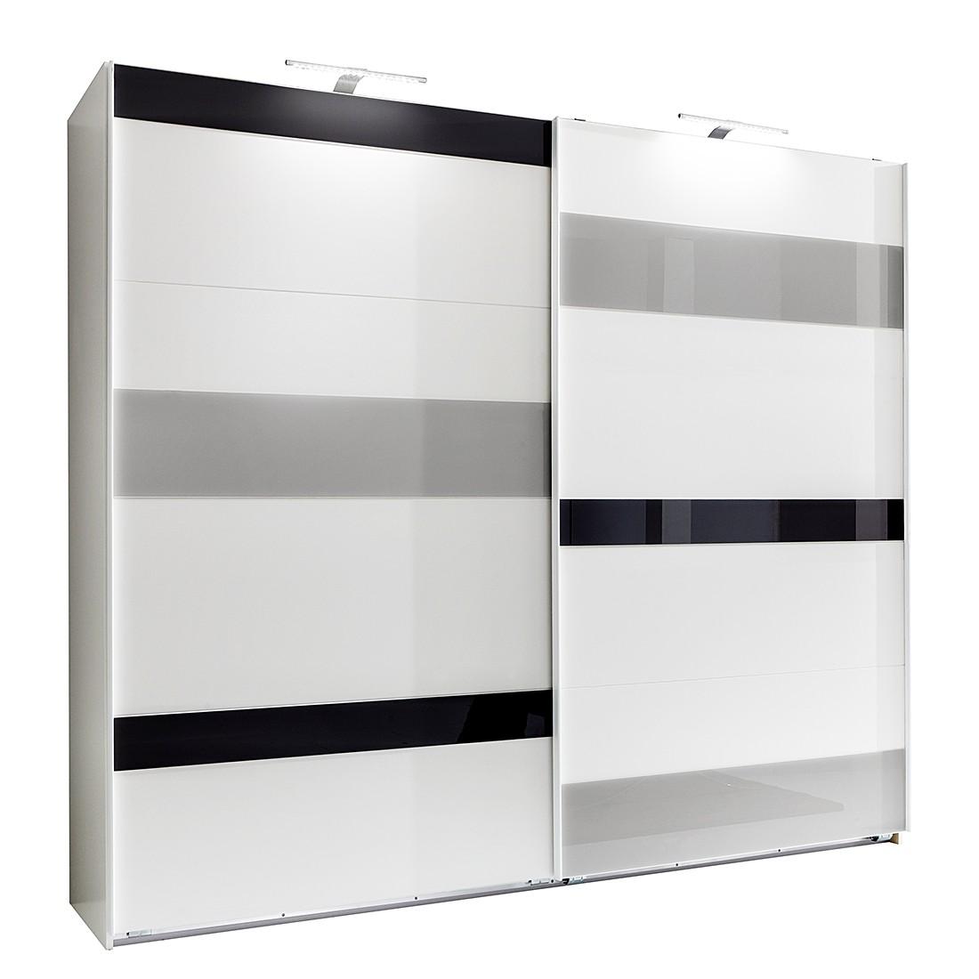 goedkoop Schuifdeurkast Mondrian Alpinewit grijs glas 225cm 2 deurs Wimex