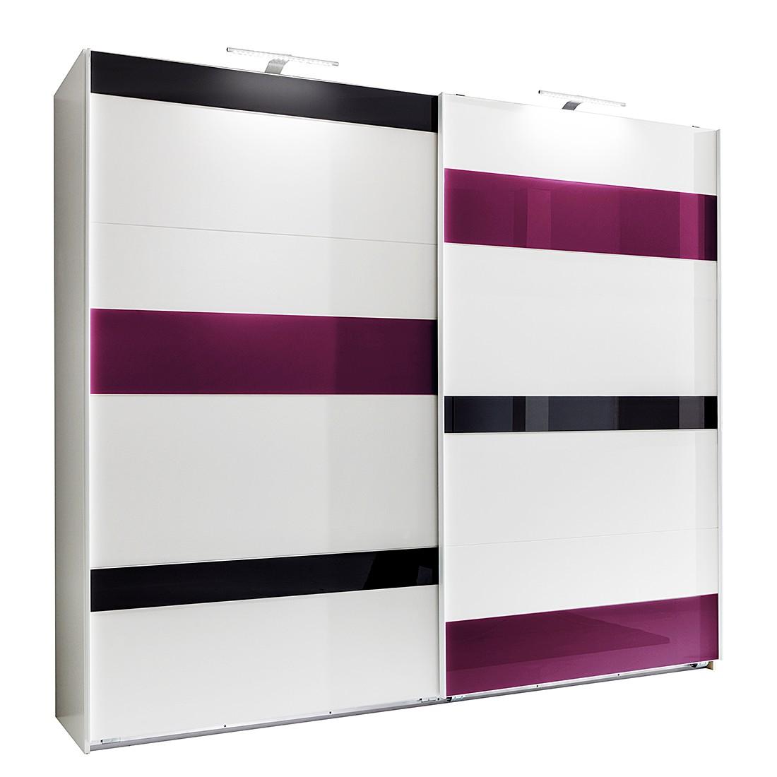 goedkoop Schuifdeurkast Mondrian Alpinewit braamkleurig glas 225cm 2 deurs Wimex