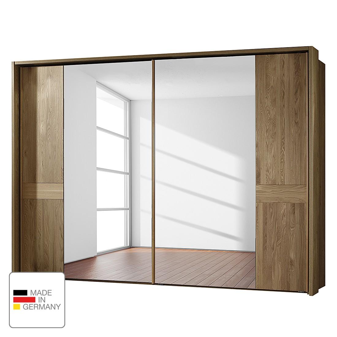 goedkoop Schuifdeurkast Münster deels massief eikenhout 250cm 2 deurs Met Passe partout lijst Wiemann