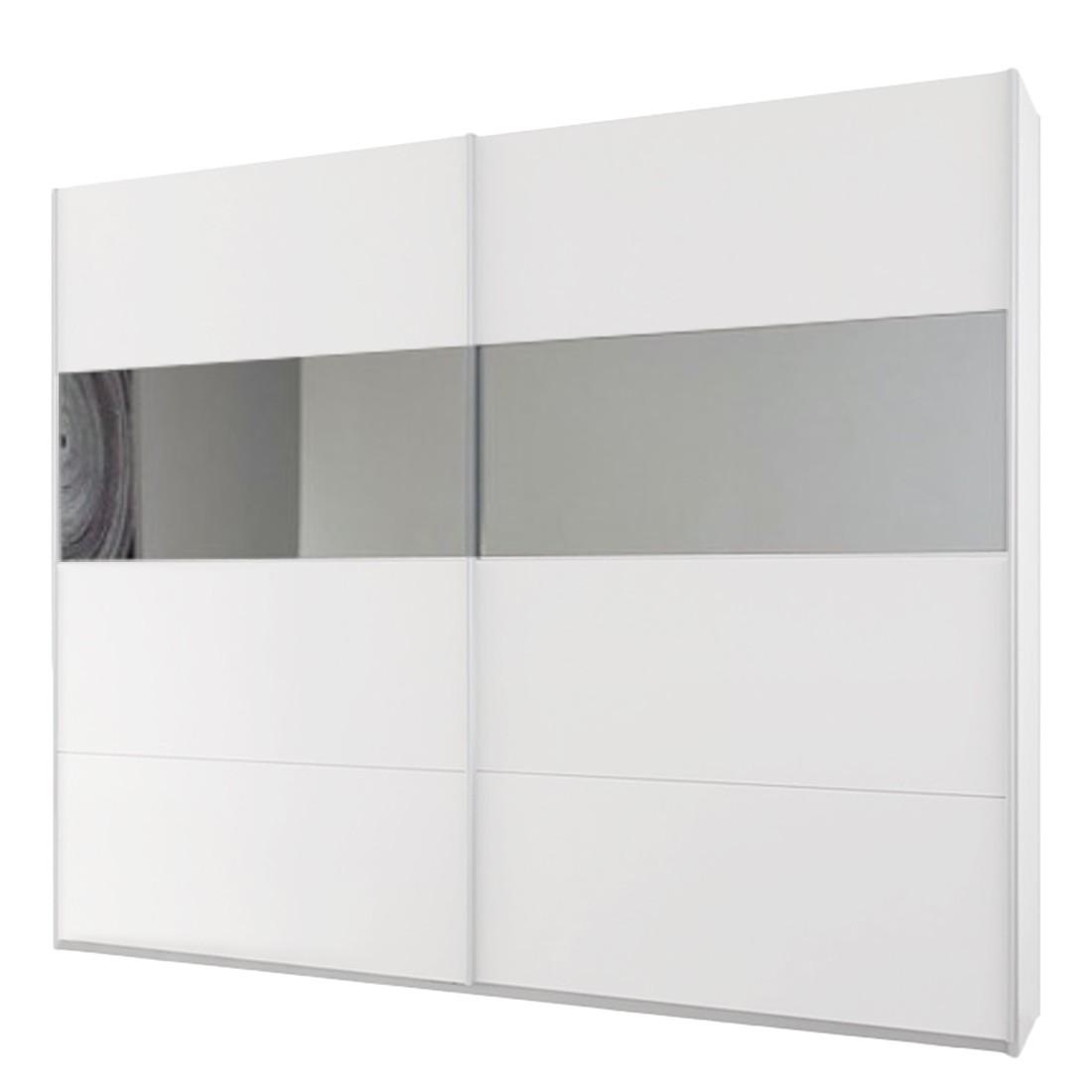 goedkoop Schuifdeurkast Quadra III Alpinewit spiegelglas 181cm 2 deurs 230cm Rauch