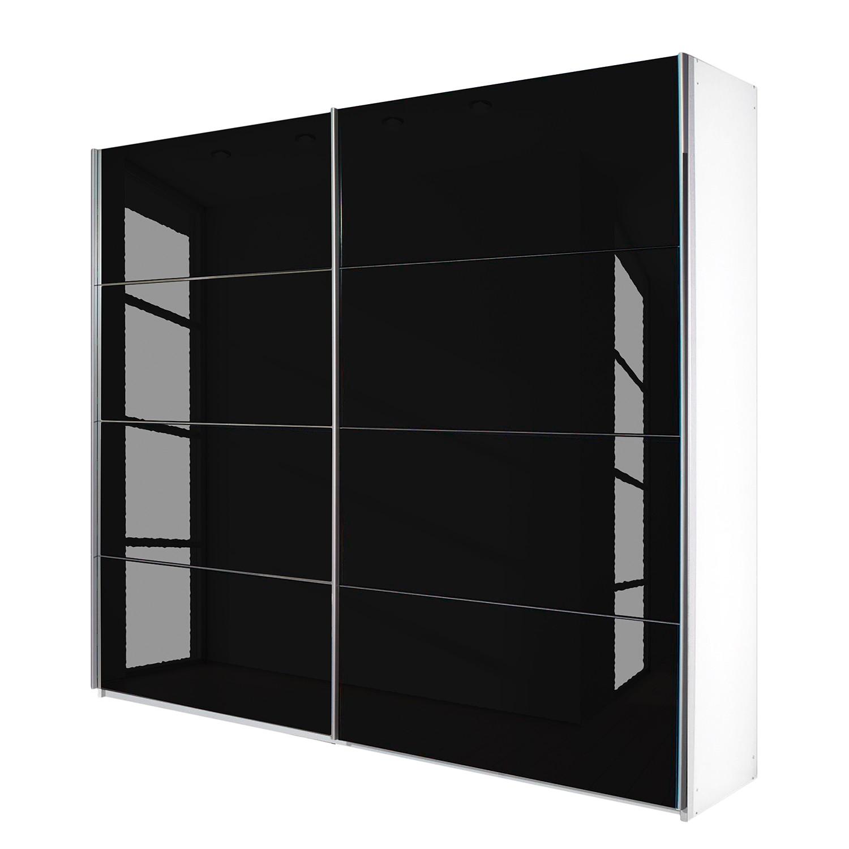 goedkoop Schuifdeurkast Quadra alpinewit zwart glas BxH 136x210cm Rauch Packs