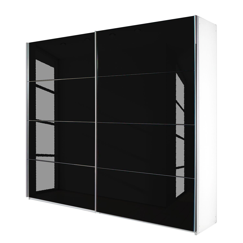 goedkoop Schuifdeurkast Quadra alpinewit zwart glas BxH 181x230cm Rauch Packs