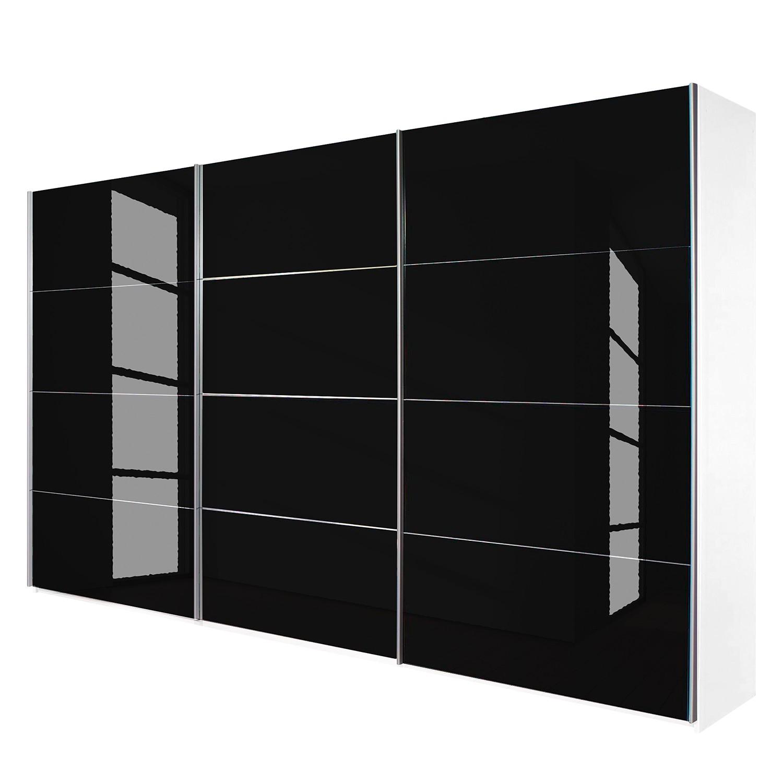 goedkoop Schuifdeurkast Quadra alpinewit zwart glas BxH 315x230cm Rauch Packs