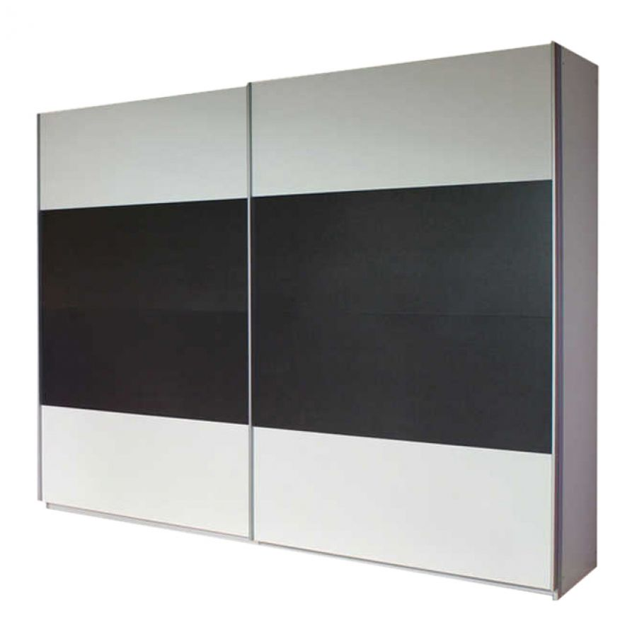 goedkoop Schuifdeurkast Quadra I Alpinewit grijs metallic 136cm 2 deurs 210cm Rauch