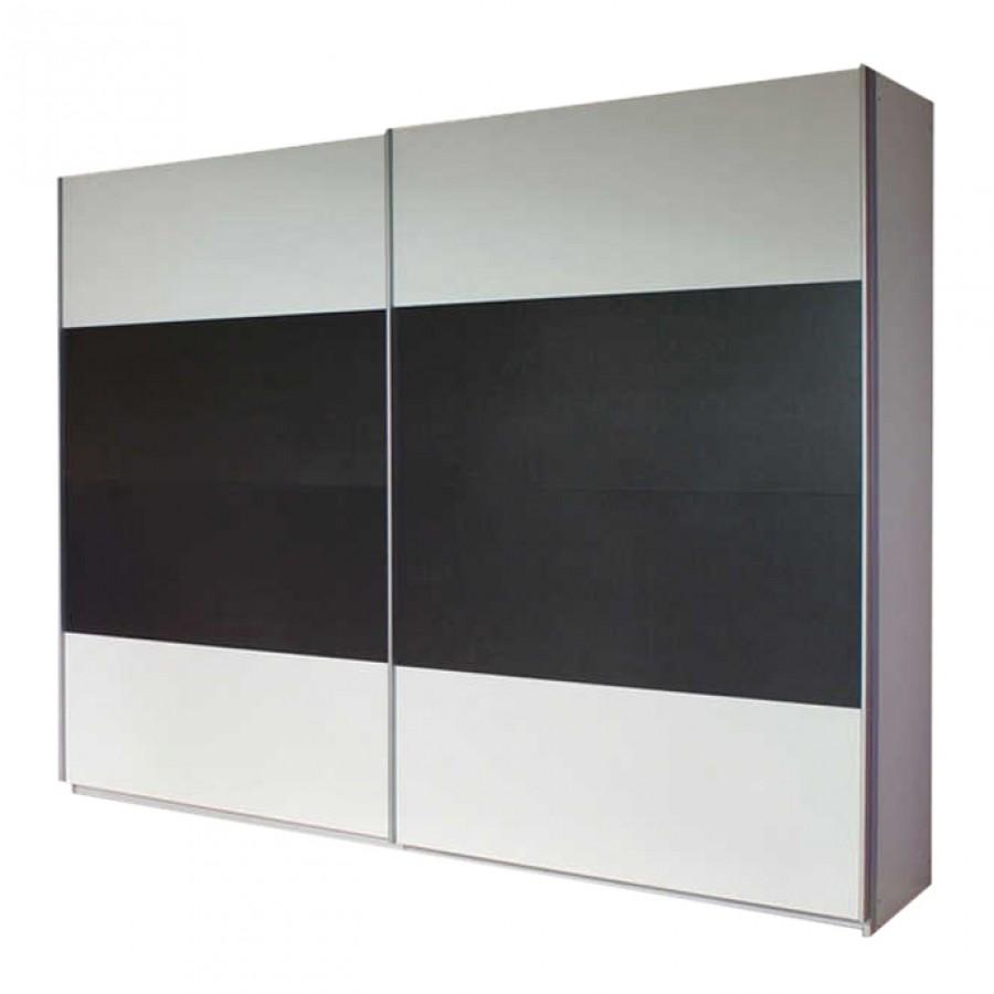 goedkoop Schuifdeurkast Quadra I Alpinewit grijs metallic 136cm 2 deurs 230cm Rauch