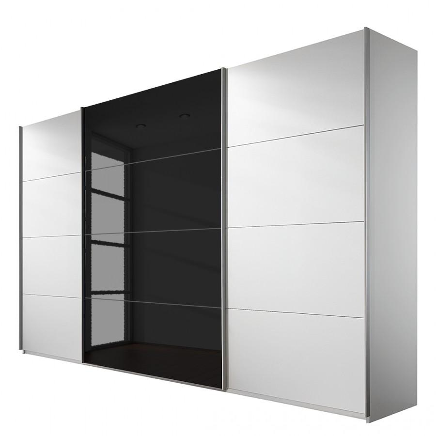 goedkoop Schuifdeurkast Quadra alpinewit zwart 315cm 3 deurs Rauch Packs