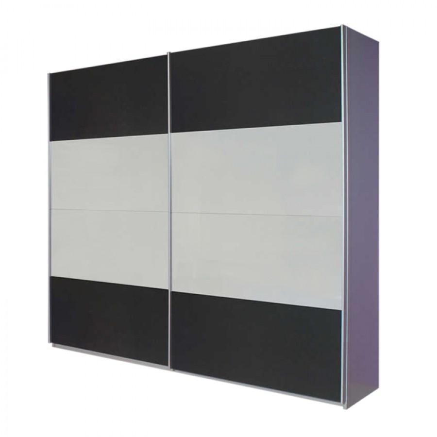 goedkoop Zweefdeurkast Quadra geborsteld aluminium 2 deurs 136cm alpinewit grijs metallic Rauch Packs
