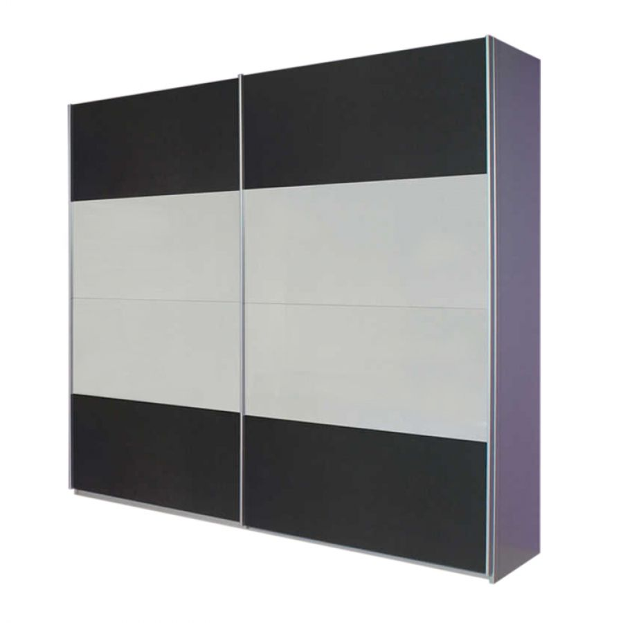 goedkoop Zweefdeurkast Quadra geborsteld aluminium 2 deurs 226cm alpinewit grijs metallic Rauch Packs