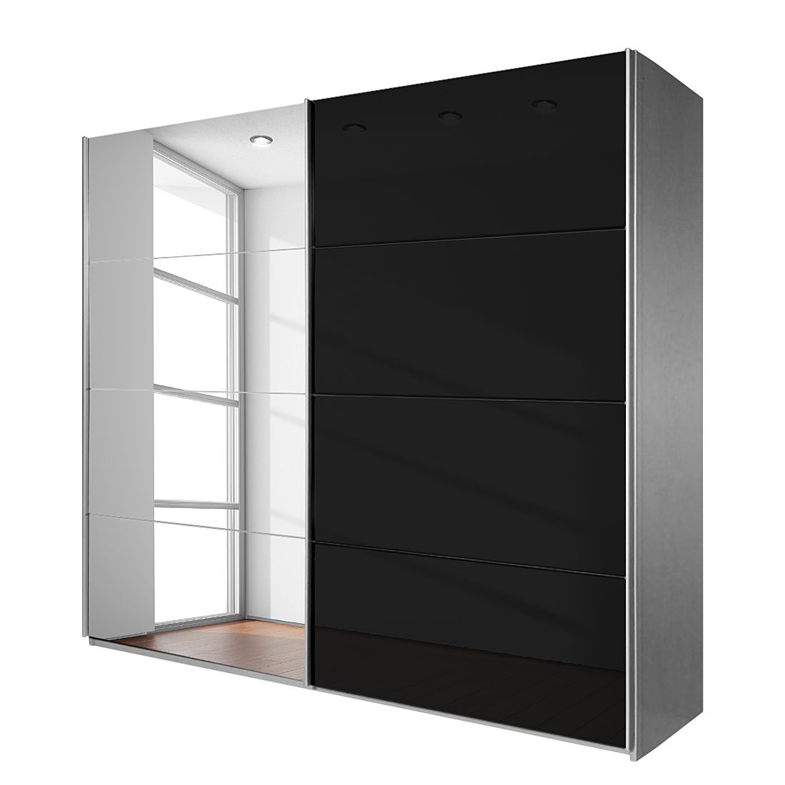 goedkoop Schuifdeurkast Quadra met spiegel geborsteld aluminium zwart BxH 226x230cm Rauch Packs