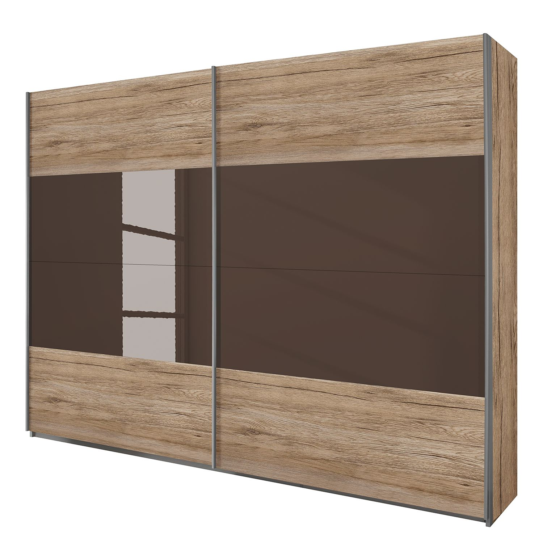 goedkoop Schuifdeurkast Quadra lichte San Remo eikenhouten look lavagrijs glas BxH 136x230cm Rauch Packs