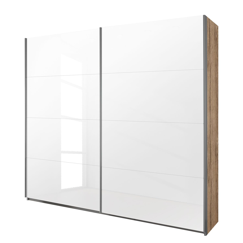 goedkoop Schuifdeurkast Quadra lichte San Remo eikenhouten look wit glas BxH 181x210cm Rauch Packs