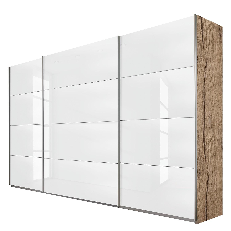 goedkoop Schuifdeurkast Quadra lichte San Remo eikenhouten look wit glas BxH 315x230cm Rauch Packs