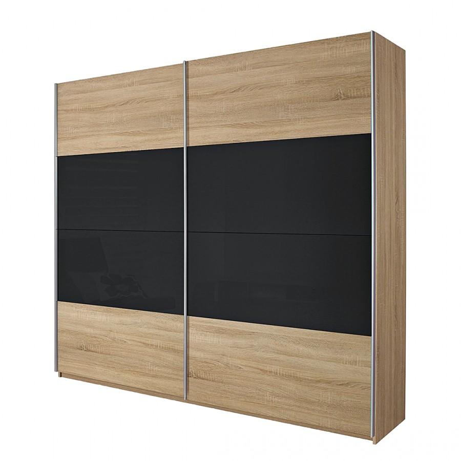 goedkoop Schuifdeurkast Quadra I Sonoma eikenhoutkleurig basaltkleurig glas 136cm 2 deurs 210cm Rauch