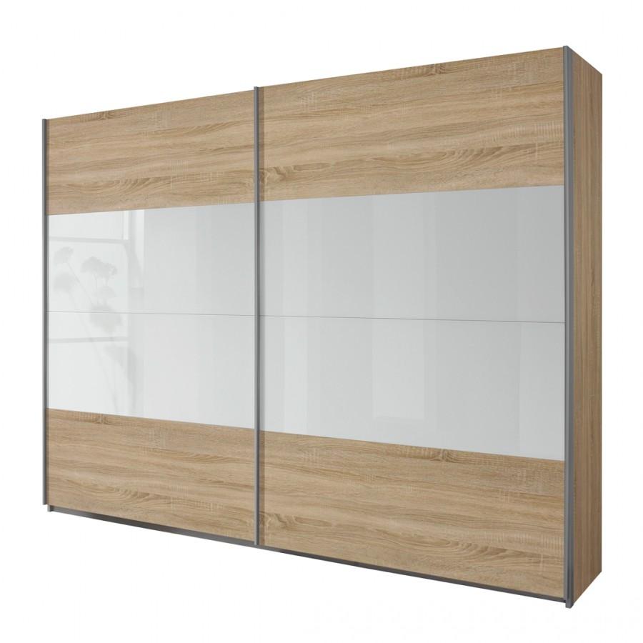 goedkoop Schuifdeurkast Quadra I Sonoma eikenhouten look wit 226cm 2 deurs 230cm Rauch