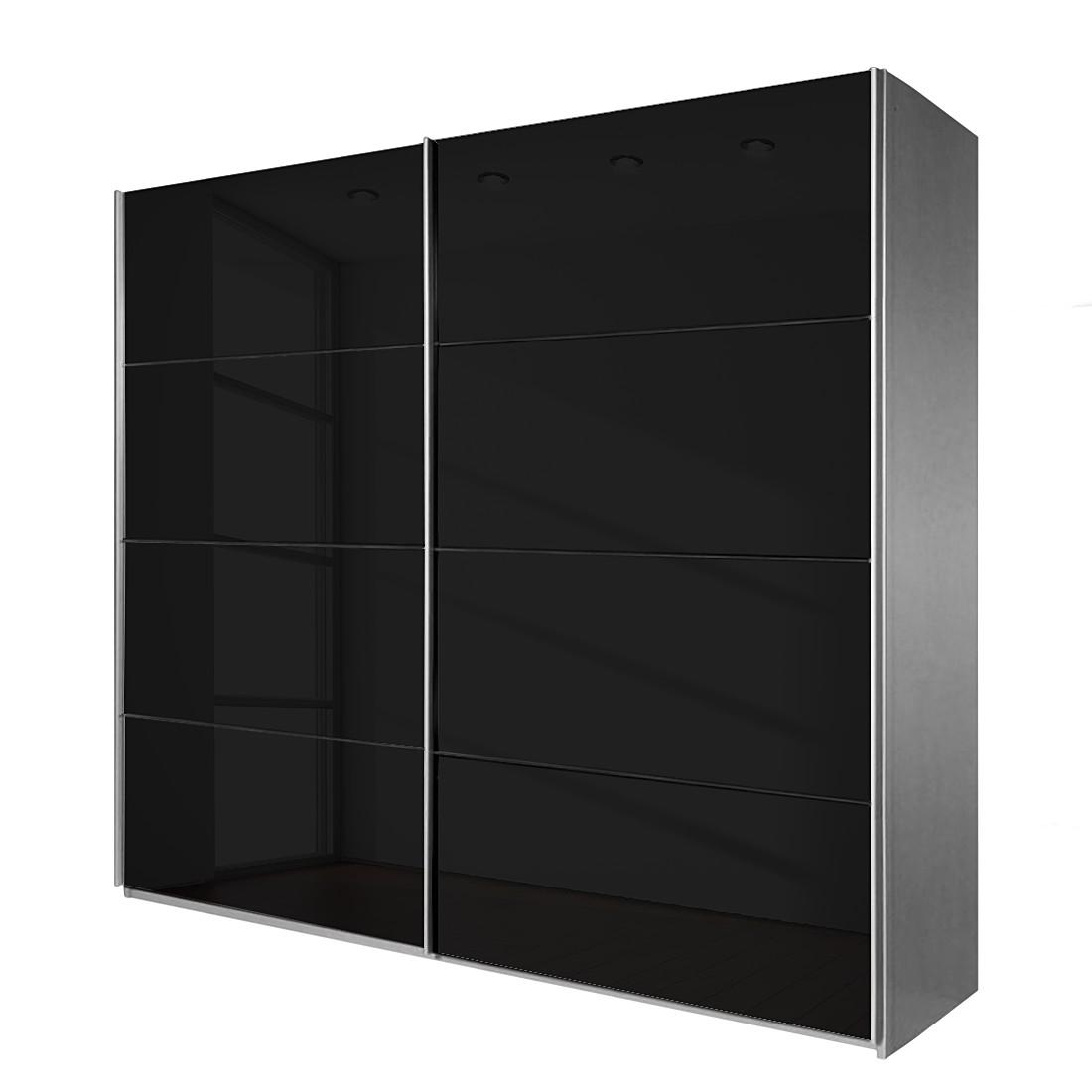 goedkoop Schuifdeurkast Quadra II Aluminiumkleurig zwart glas 271cm 2 deurs 210cm Rauch
