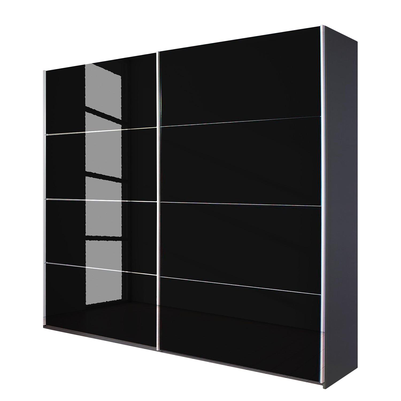 goedkoop Schuifdeurkast Quadra grijs metallic zwart glas BxH 181x210cm Rauch Packs