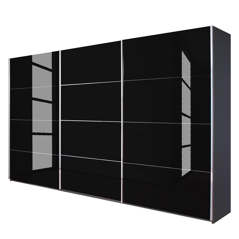 goedkoop Schuifdeurkast Quadra grijs metallic zwart glas BxH 315x210cm Rauch Packs