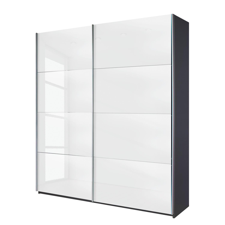 goedkoop Schuifdeurkast Quadra grijs metallic wit glas BxH 181x210cm Rauch Packs