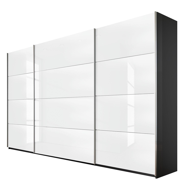 goedkoop Schuifdeurkast Quadra grijs metallic wit glas BxH 315x210cm Rauch Packs