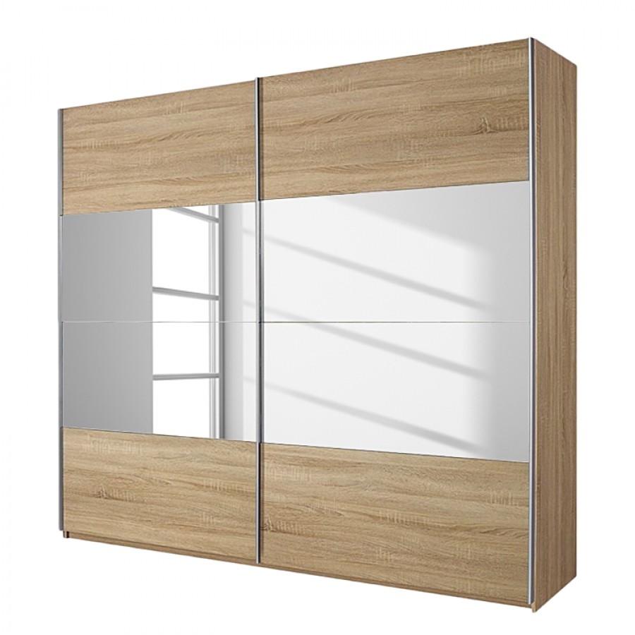 goedkoop Schuifdeurkast Quadra I Sonoma eikenhoutkleurig spiegelglas 136cm 2 deurs 230cm Rauch