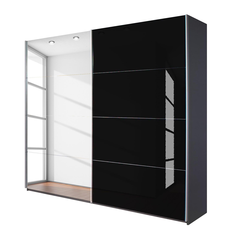 goedkoop Schuifdeurkast Quadra met spiegel grijs metallic zwart glas BxH 181x210cm Rauch Packs