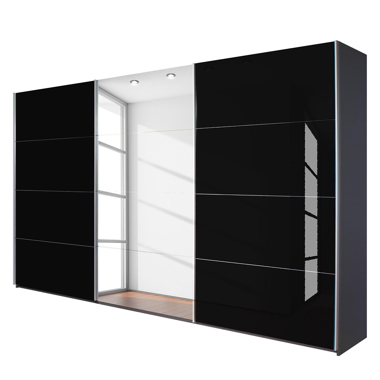 goedkoop Schuifdeurkast Quadra met spiegel grijs metallic zwart glas BxH 315x230cm Rauch Packs