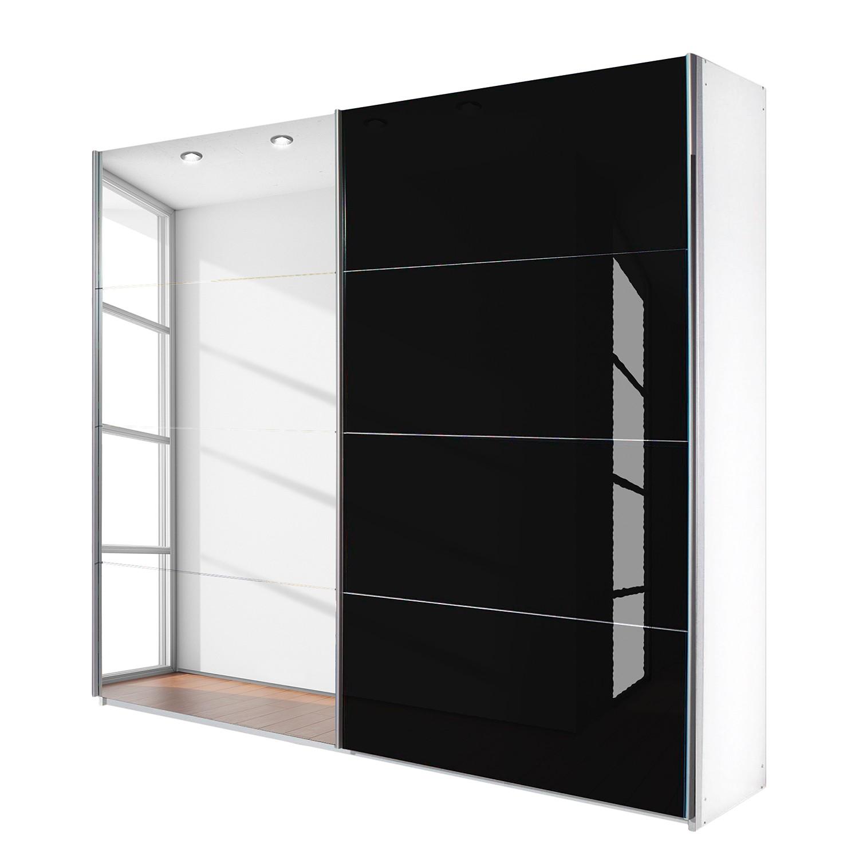 goedkoop Schuifdeurkast Quadra spiegel alpinewit zwart glas BxH 136x230cm Rauch Packs