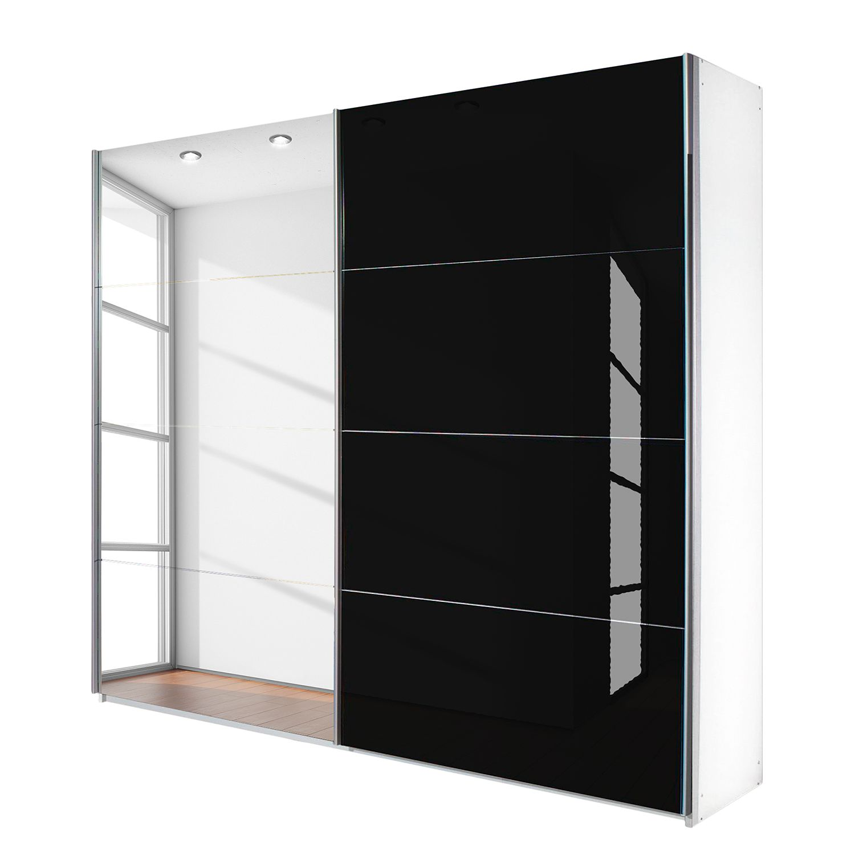 goedkoop Schuifdeurkast Quadra spiegel alpinewit zwart glas BxH 226x210cm Rauch Packs