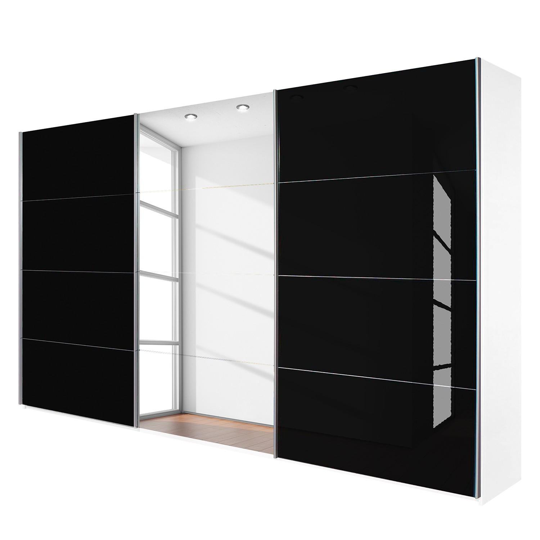 goedkoop Schuifdeurkast Quadra spiegel alpinewit zwart glas BxH 315x210cm Rauch Packs