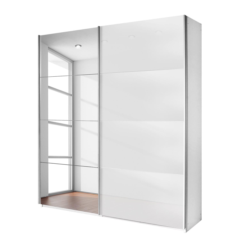 goedkoop Schuifdeurkast Quadra spiegel alpinewit wit glas BxH 226x210cm Rauch Packs