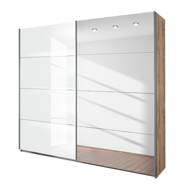 goedkoop Schuifdeurkast Quadra spiegel lichte San Remo eikenhouten look hoogglans wit BxH 181x230cm Rauch Packs